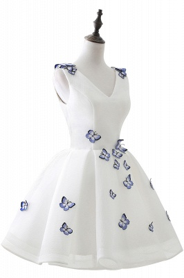 Custom Made A-line Cute White Short Homecoming Dresses With Butterfly_4