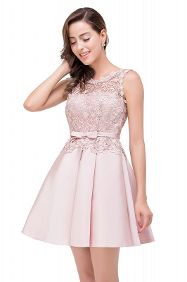 ADELAIDE | A-line Knee-length Satin Homecoming Dress with Lace_12