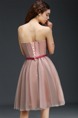 CLAUDIA | Princess Strapless Knee-length Tulle Homecoming Dress with a Self-tie Belt_3
