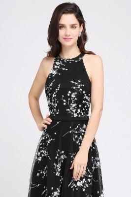 ALYSSA | A-line Floor Length Black Evening Dresses with Flowers_4