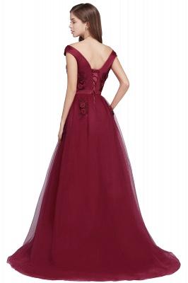 EMBER   A-line Off-shoulder Floor-length Tulle Appliques Prom Dresses_7