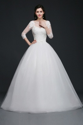 AMIYAH | Ball Gown Scoop Tulle Wedding Dress With Lace Appliques