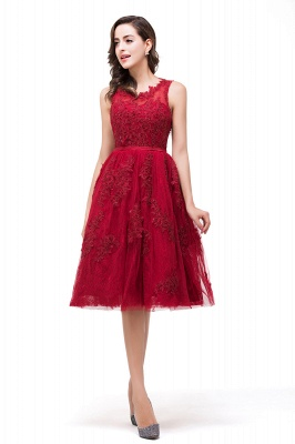 DANA | A-Line Knee-Length Red Lace Tull Prom Dresses with sequins_7