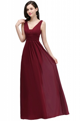 ALEXA | Sheath V Neck Burgundy Chiffon Long Evening Dresses_4