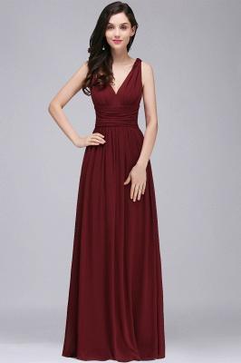 Ruched Chiffon A-line V-Neck Burgundy Evening Dresses_3