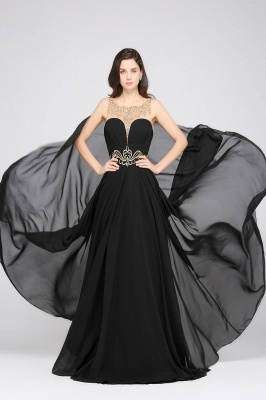 AVA | A-line Scoop Chiffon Prom Dress With Lace_5