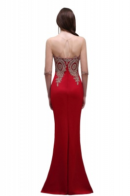 BELLA   Sheath Round Neck Floor-Length Burgundy Prom Dresses With Applique_4