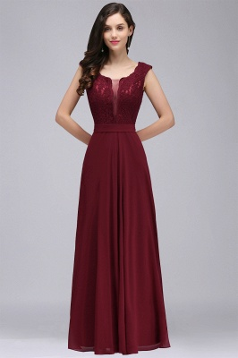 CORINNE | A-line Floor-length Lace Burgundy Elegant Prom Dress_10