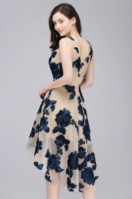 Short Appliques Tulle V Neck Prom Dresses_6