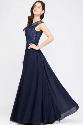 AVALYN   A-line Scoop Navy Chiffon Prom Dress With Appliques_7