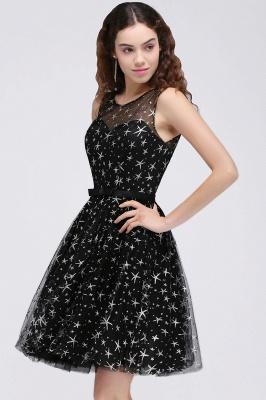 Modest Illusion Short Zipper A-line Sleeveless Belt Homecoming Dress_1