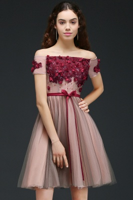 Off-the-Shoulder Burgundy-Flowers Short-Sleeves Knee-Length Homecoming Dresses_1