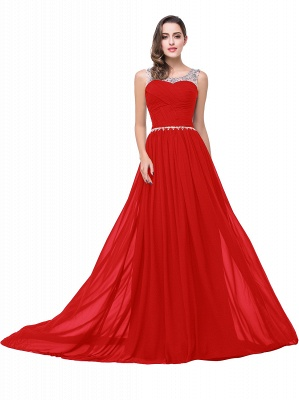 AIMEE | A-line Court Train Chiffon Party Dress With  Beading_2