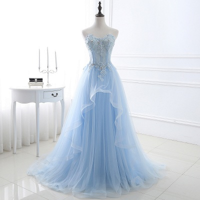 Strapless Fluffy Tulle Sky Blue Formal Dresses | Lace Appliques Evening Gowns Cheap_4