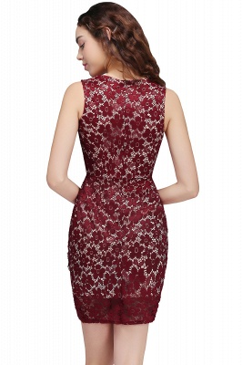 BRILEY | Bodycon Round Neck Short Lace Burgundy Homecoming Dresses_3