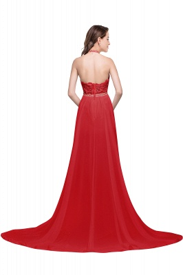 ADELE | A-line Halter Chiffon Evening Dress with Lace_3