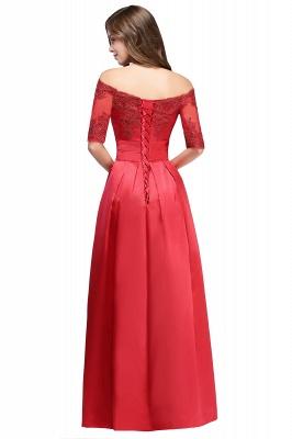 ELLISON | A-line Half Sleeve Floor-length Off-shoulder Appliques Prom Dresses_4