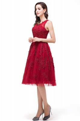 DANA | A-Line Knee-Length Red Lace Tull Prom Dresses with sequins_5