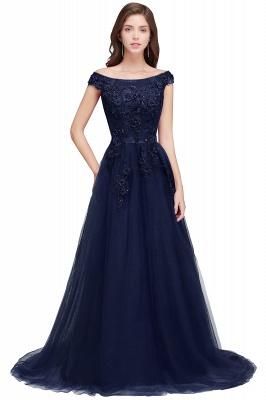 EMBER   A-line Off-shoulder Floor-length Tulle Appliques Prom Dresses_3