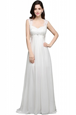 AYLA | A-line Sweetheart Chiffon White Evening Dress With Lace_2