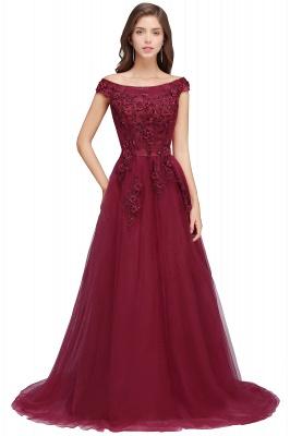 EMBER   A-line Off-shoulder Floor-length Tulle Appliques Prom Dresses_6