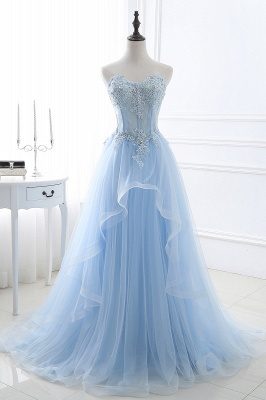 Strapless Fluffy Tulle Sky Blue Formal Dresses | Lace Appliques Evening Gowns Cheap_1