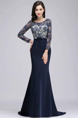 ALICE | Mermaid Jewel Navy Blue Lace Long Evening Dresses With Sleeve_1