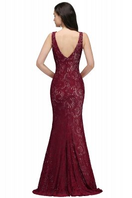 DULCE | Mermaid Crew Floor-length Sleeveless Burgundy Lace Prom Dresses_3