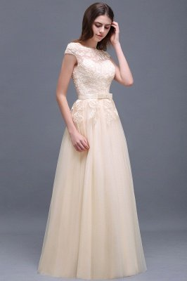 AUBREE | A-line Floor-Length Tulle Prom Dress With Lace Appliques_10