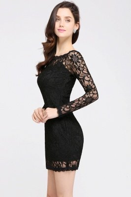 Sexy Black Lace Long Sleeves Mermaid Prom Dresses_11