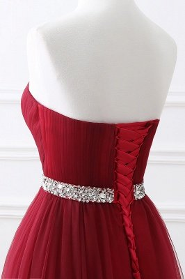 Custom Made Fluffy Tulle A-line Sweetheart Burgundy Prom Dresses Cheap With Beads Belt_14