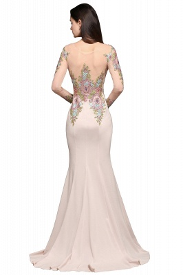 ALMA | Mermaid Scoop Pearl Pink Evening Dresses with Appliques_5
