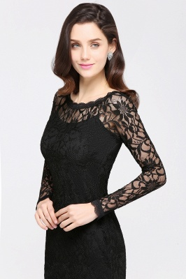 Sexy Black Lace Long Sleeves Mermaid Prom Dresses_13