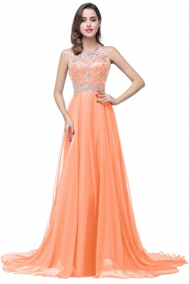 ELLA   A-line Crew Floor-length Sleeveless Tulle Prom Dresses with Crystal Beads_1