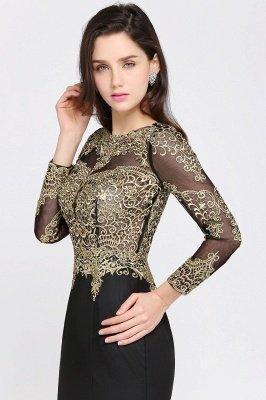 AMANDA | Mermaid Scoop Floor Length Black Elegant Evening Dresses with Appliques_7