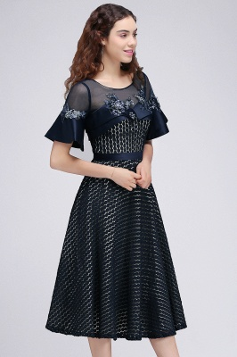 BRIELLA | A-Line Round Neck Tea-Length Dark Navy Homecoming Dresses With Applique_5