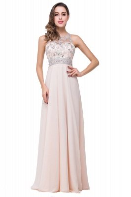 Light-Champagne Sleeveless Crystals Chiffon Long Prom Dresses_2