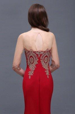 BELLA | Sheath Round Neck Floor-Length Burgundy Prom Dresses With Applique_10