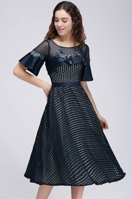 BRIELLA | A-Line Round Neck Tea-Length Dark Navy Homecoming Dresses With Applique_6
