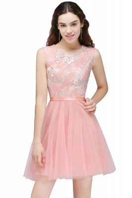 CARMEN | A-line Short Pink Tulle Homecoming Dresses with Lace Appliques_1
