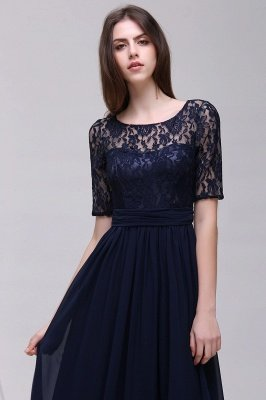 AUBRIELLE | A-line Scoop Chiffon Elegant Prom Dress With Lace_12