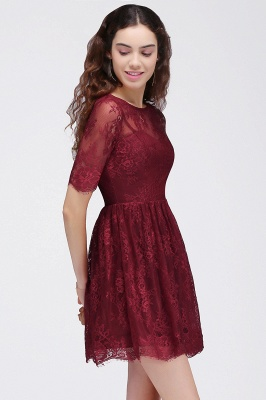 BRITTANY | A-Line Round Neck Short Lace Burgundy Homecoming Dresses_4