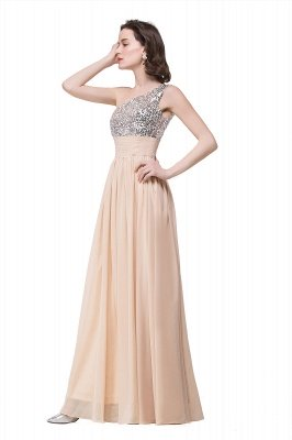 ADELYN | A-line Floor-length Chiffon Evening Dress with Sequined_6