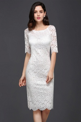 CLAIRE | Column Scoop Neck Knee-length Lace Prom Dress