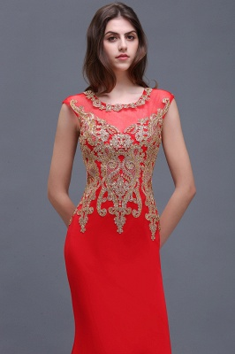 BELEN | Sheath Round Neck Floor-Length Red Prom Dresses With Applique_5