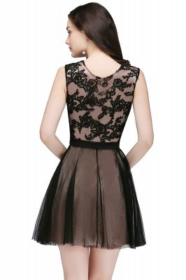 ELEANOR | A-line Crew Short Sleeveless Tulle Lace Appliques Prom Dresses_3