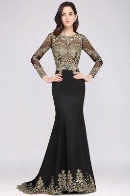 AMANDA | Mermaid Scoop Floor Length Black Elegant Evening Dresses with Appliques_4