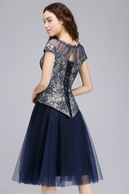BRIDGET | A-Line Round Neck Knee-Length Tulle Lace Dark Navy Homecoming Dresses_5
