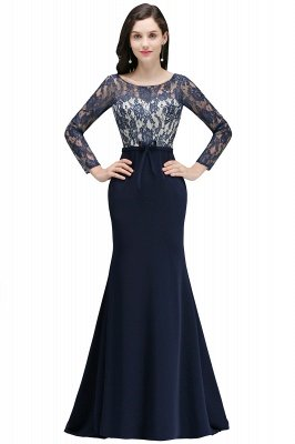 ALICE | Mermaid Jewel Navy Blue Lace Long Evening Dresses With Sleeve_4