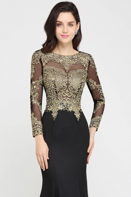 AMANDA | Mermaid Scoop Floor Length Black Elegant Evening Dresses with Appliques_5